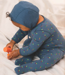Martha & Marlo Baby Bonnet Hat Organic Cotton Blue