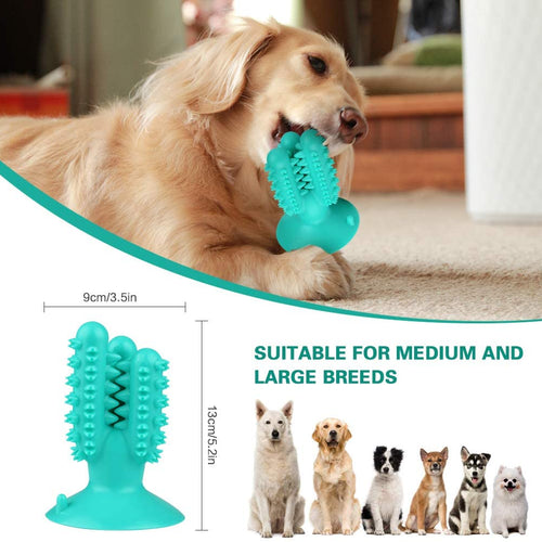 Dog Toothbrush Chew Toys, Durable Teeth Cleaning Stick with Suction Cup, Natural Rubber Dental Oral Care Chewable Toy for Small Medium Large Dogs