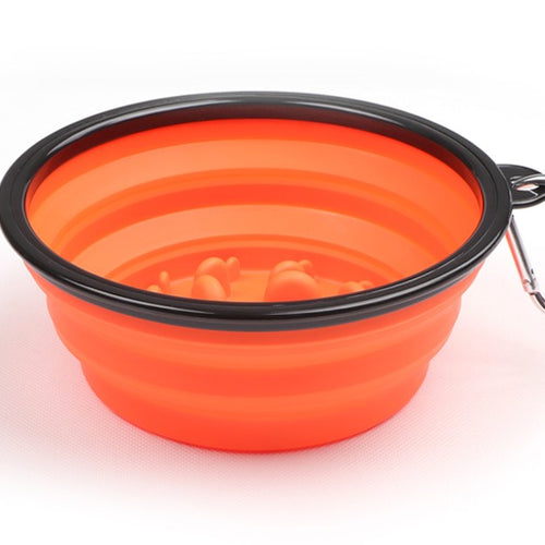 Portable Dog Slow Feeder Bowl Collapsible Silicone Stop Bloat for Pet for Travel,Outdoor,Home