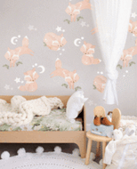 Friendly Foxes Woodland  Fabric Wall Sticker - In Stock