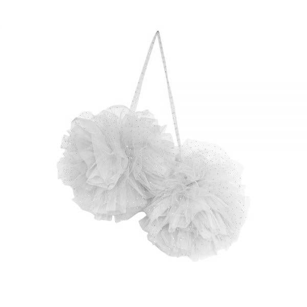Large Sparkle Pom Garland in White - In stock