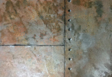 Metallic Wall Finishes for Branding and Design: Rusted Steel With Rivets