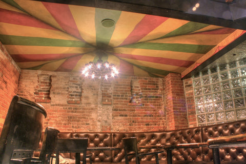 striped canopy mural