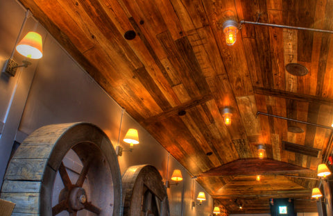 faux woodgrain ceiling