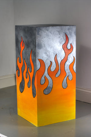 Pedimental- Faux Painted Steel With Iconic Flame Finish.