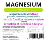 Lindens Magnesium Tablets (500mg MgO) | 90 Pack | Reduces Tiredness & Fatigue