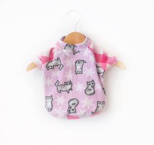 Fleece Kitties Dog Tee Size  XSmall