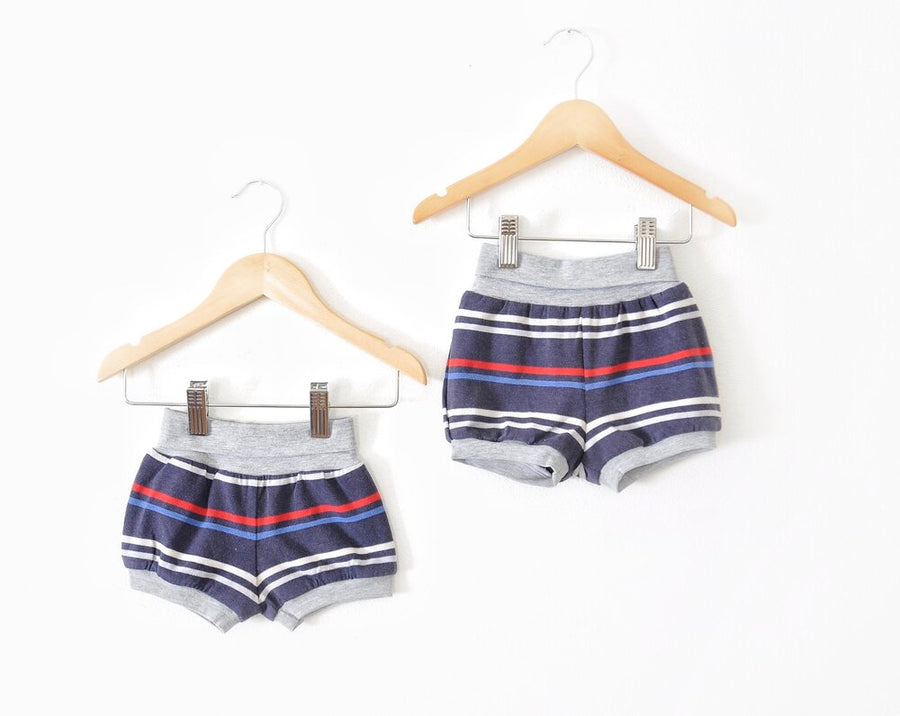 Blue & Red Striped Shorts sizes 3 months-2/3