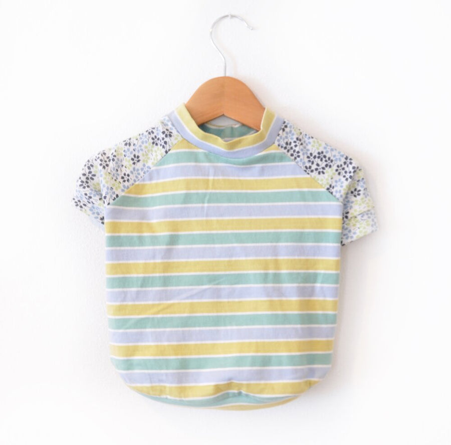 Yellow Stripes & Flowers Dog Tee Size Large