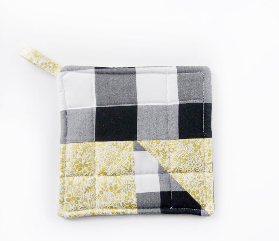 Gold Floral & Buffalo Plaid Potholder