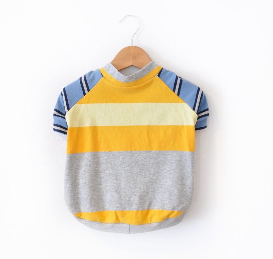 Yellow & Grey Striped Dog Tee Size XLarge