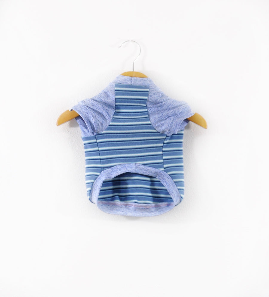 Blue & White Striped Dog Tee Size Small