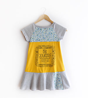 Yellow & Blue Floral Be Yourself Dress Size 6/7