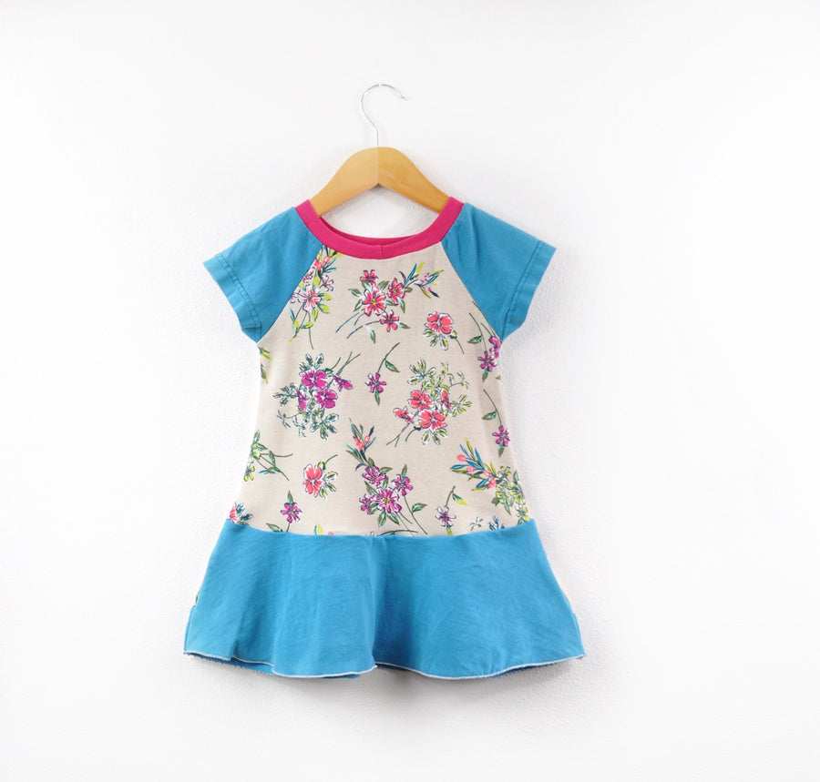 Teal Blue & Flowered Dress Size 18 months