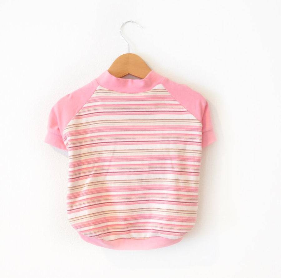 Pink Striped Dog Tee Size XLarge