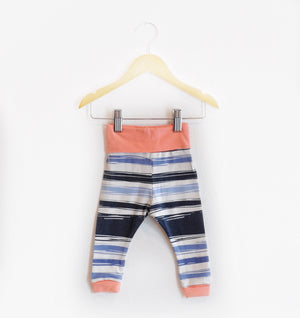 """Grow With Me Leggings"" Navy and Light Blue Striped size 6 Months"