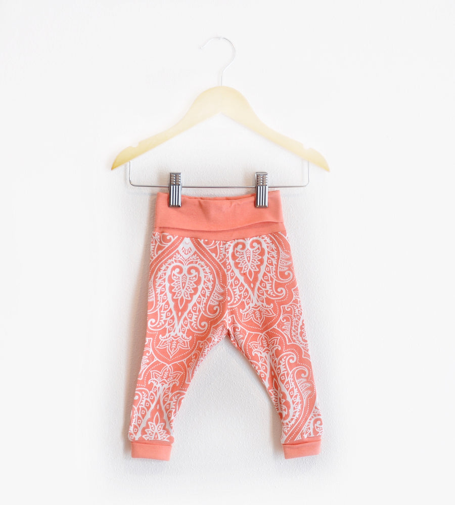"""Grow With Me"" Orange Paisley Leggings size 6 Months"
