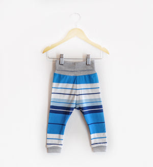 """Grow With Me Leggings"" Blue and White Striped size 12 Months"