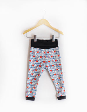 """Grow With Me Leggings"" Red and Blue Tulips Size 18 Months"