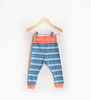 """Grow With Me Leggings"" Blue and Teal Striped Size 18 Months"