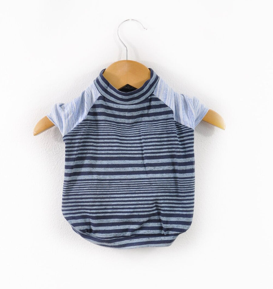 Blue Striped Dog Tee Size Small