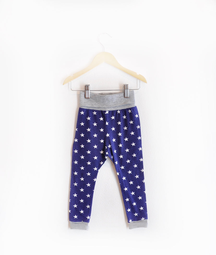 """Grow With Me Leggings"" Blue with Stars"
