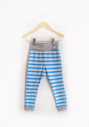 """Grow With Me Leggings"" Blue & White Striped size 2/3"