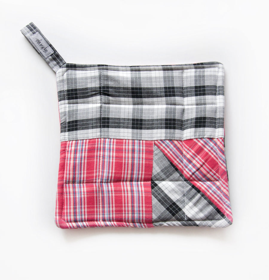 Pink & Black Plaid Potholder