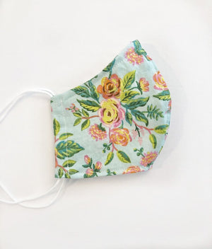 Mint Floral Face Mask Adult