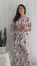 cotton loungewear kaftan top with matching straight pants arya kafjama white with red and green floral print