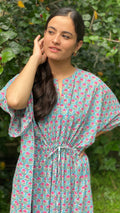 cotton loungewear kaftans that are light and breezy Firoz Kaftan light blue with pink and green print