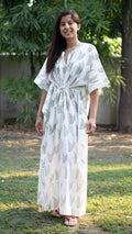cotton loungewear kaftans that are light and breezy kairi kaftan white with light olive color leaf pattern
