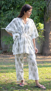 cotton loungewear kaftan top with matching straight pants Kairi Kafjama white with light olive color leaf pattern