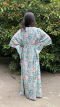 cotton loungewear kaftans that are light and breezy kudrat kaftan light blue with pink and teal floral pattern