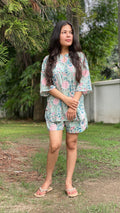 cotton loungewear shorts sets that are perfect for indian climates kudrat shorts set light blue with pink and teal floral pattern