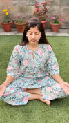 cotton loungewear pyjama sets relax in our stylish kurta pyjama kudrat pyjama set light blue with pink and teal floral pattern