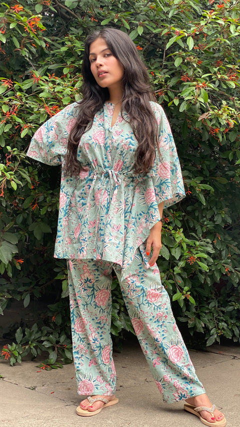 cotton loungewear kaftan top with matching straight pants kudrat kafjama light blue with pink and teal floral pattern