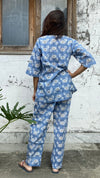 cotton loungewear pyjama sets relax in our stylish kurta pyjama mr crab pyjama set light blue with white crabs printed on