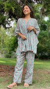 cotton loungewear kaftan top with matching straight pants naaz kafjama teal with red and white print