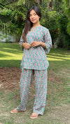 cotton loungewear pyjama sets relax in our stylish kurta pyjama naaz pyjama set teal with white and red print
