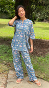 cotton loungewear pyjama sets relax in our stylish kurta pyjama nayaab pyjama set light blue with floral pattern