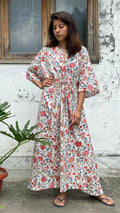 cotton loungewear kaftans that are light and breezy noor kaftan white with red and green floral print