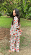 cotton loungewear pyjama sets relax in our stylish kurta pyjama white with red and green floral print
