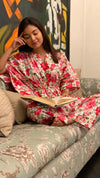 cotton loungewear kaftan top with matching straight pants pakeezah kafjama white with red floral print