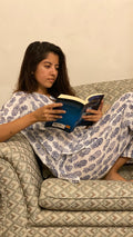 cotton loungewear pyjama sets relax in our stylish kurta pyjama pineapples pyjama set white with dark blue print