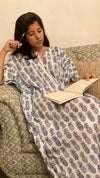 cotton loungewear kaftans that are light and breezy pineapples kaftan white with dark blue print