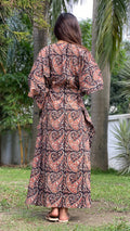 cotton loungewear kaftans that are light and breezy shama kaftan dark brown with print
