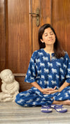 cotton loungewear pyjama sets relax in our stylish kurta pyjama nandi pyjama set indigo with white pattern