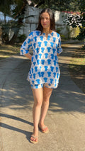 Blue Elephants Shorts Set