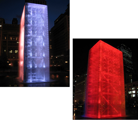 Buildings lit with color changing LED lights